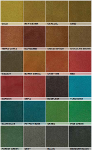 Acid Stained Concrete Vs. Dyes and Tints colour chart