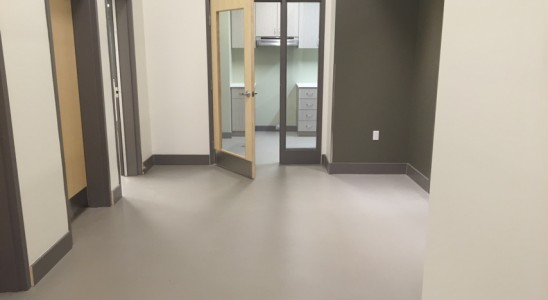 solid colour epoxy with matte urethane clear coat floor company ottawa concrete